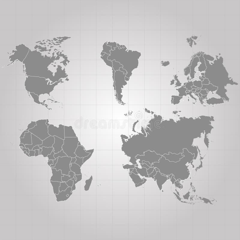 Territorium av kontinenter - USA Nordamerika Sydamerika, Afrika, Europa, Asien, Eurasia Grå färgbakgrund också vektor för coreldr stock illustrationer