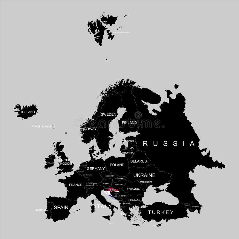 Territorium av Kroatien på den Europa översikten på en grå bakgrund stock illustrationer