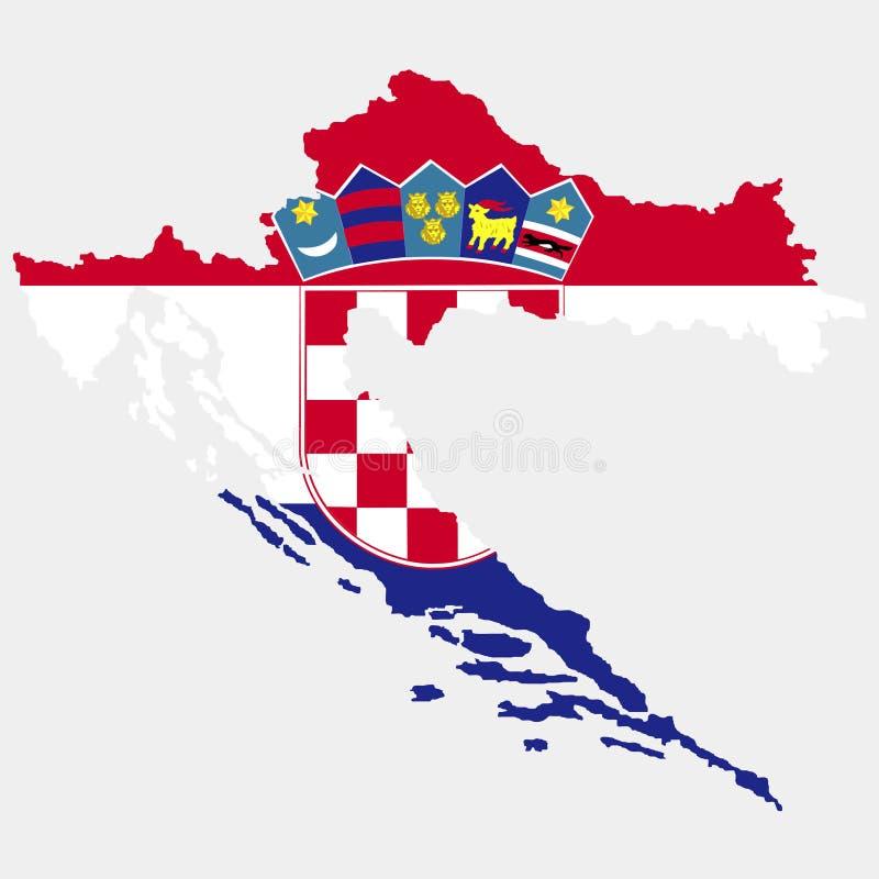 Territorium av Kroatien Vit bakgrund också vektor för coreldrawillustration stock illustrationer