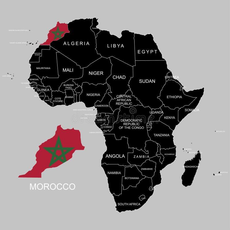 Territorium av Marocko på den Afrika kontinenten också vektor för coreldrawillustration stock illustrationer