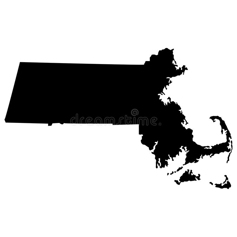 Territorium av Massachusetts Vit bakgrund också vektor för coreldrawillustration stock illustrationer
