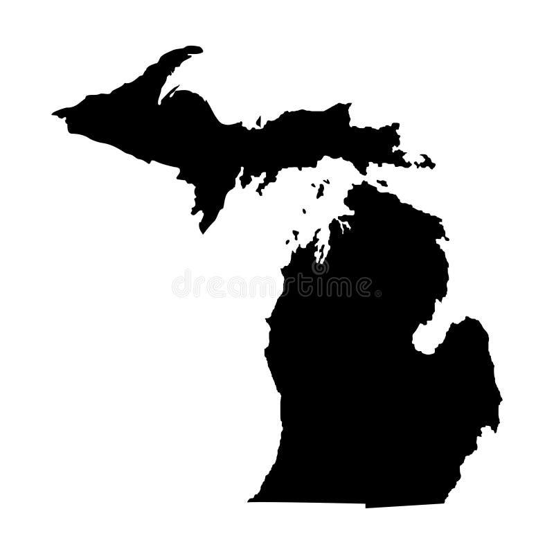 Territorium av Michigan Vit bakgrund också vektor för coreldrawillustration royaltyfri illustrationer