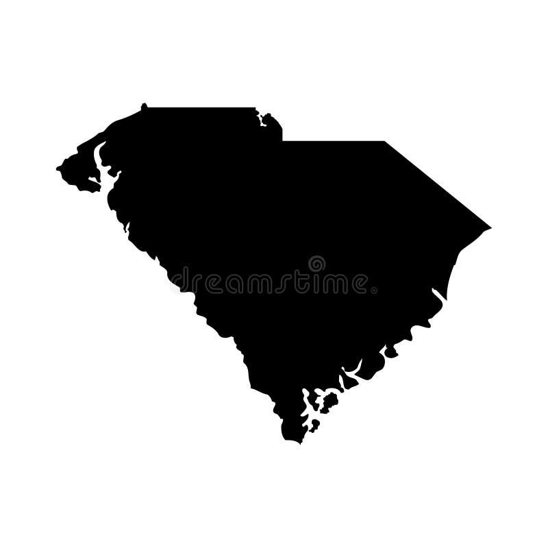Territorium av South Carolina Vit bakgrund också vektor för coreldrawillustration royaltyfri illustrationer