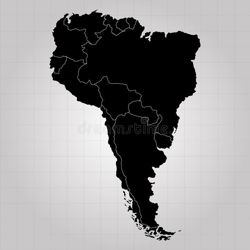 Territorium av Sydamerika med separata länder Grå färgbakgrund också vektor för coreldrawillustration vektor illustrationer