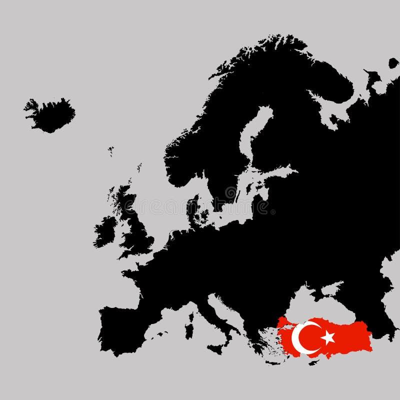 Territorium av Turkiet på den Europa översikten på en grå bakgrund vektor illustrationer