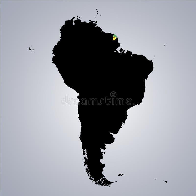 Territorium och flagga av Franska Guyana, Cayenne på den Sydamerika översikten på grå bakgrund stock illustrationer