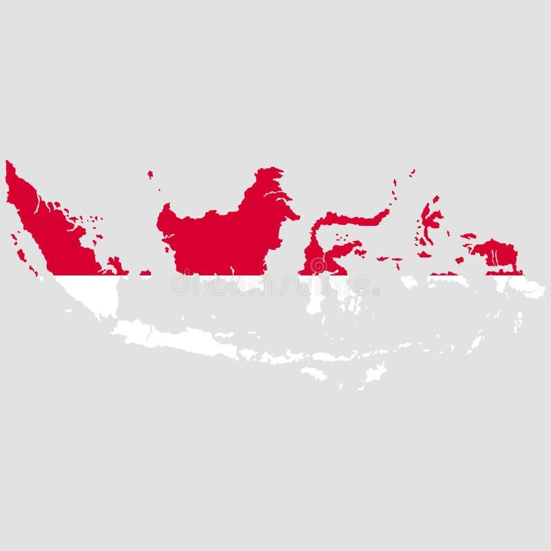 Territorium och flagga av Indonesien Grå färgbakgrund också vektor för coreldrawillustration vektor illustrationer