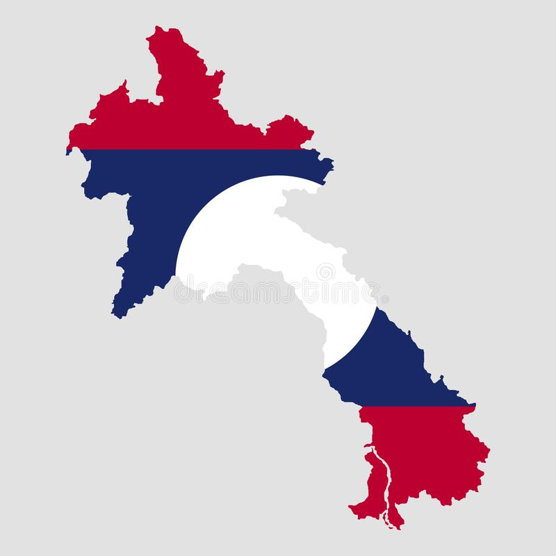 Territorium och flagga av Laos Grå färgbakgrund också vektor för coreldrawillustration stock illustrationer