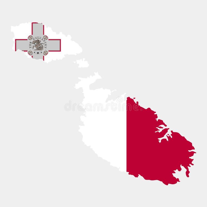 Territorium och flagga av Malta också vektor för coreldrawillustration stock illustrationer