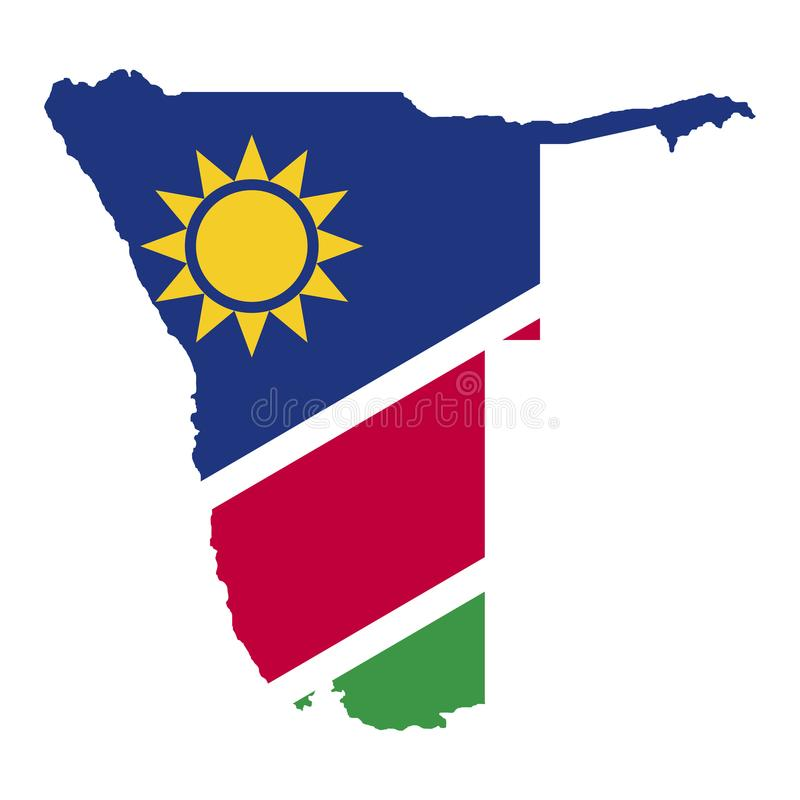 Territorium och flagga av Namibia Vit bakgrund också vektor för coreldrawillustration royaltyfri illustrationer