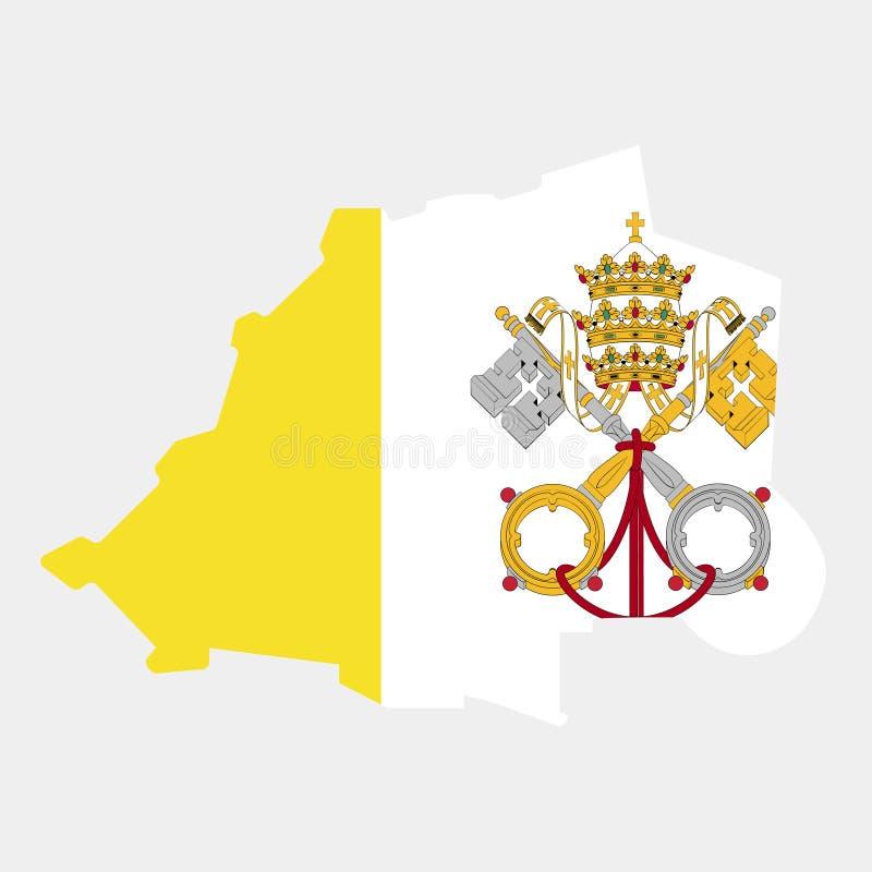 Territorium och flagga av Vaticanen också vektor för coreldrawillustration royaltyfri illustrationer