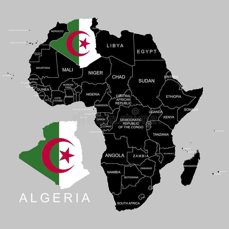 Territory of Algeria on Africa continent. Vector illustration. Territory of Algeria on Africa continent. Vector vector illustration