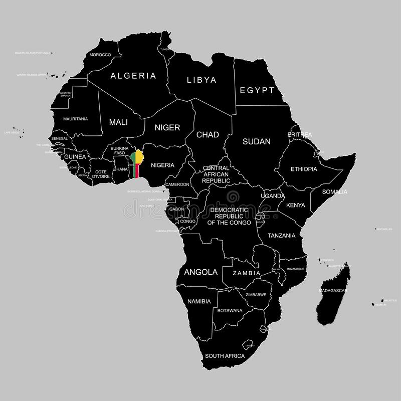Territory of Benin on Africa continent. Vector illustration. Territory of Benin on Africa continent. Vector vector illustration