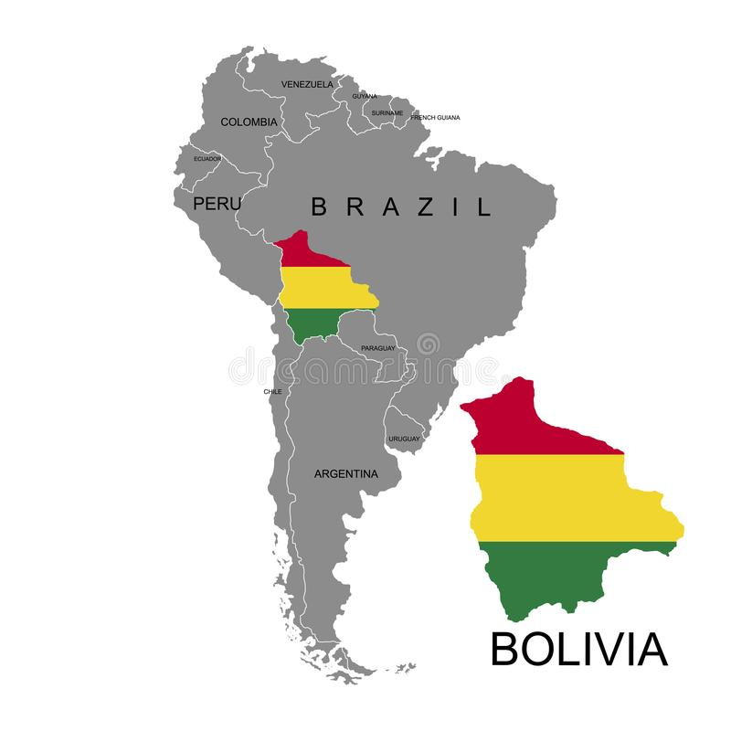 Territory of Bolivia on South America continent. White background. Vector illustration. Territory of Bolivia on South America continent. White background. Vector vector illustration