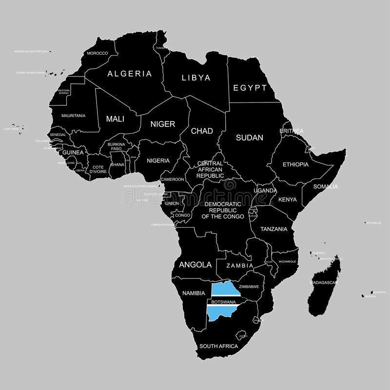Territory of Botswana on Africa continent. Vector illustration. Territory of Botswana on Africa continent. Vector stock illustration