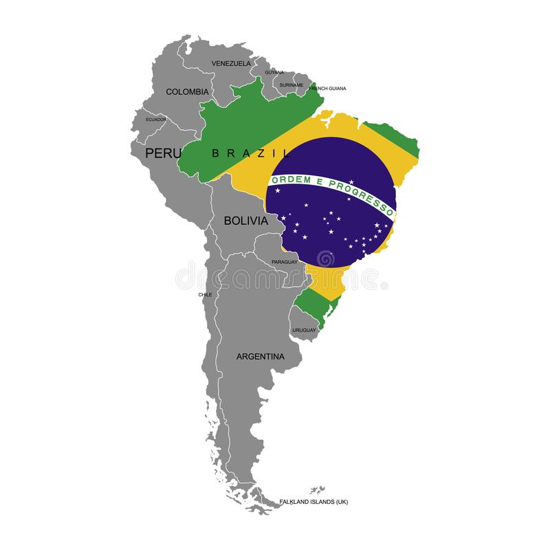 Territory of Brazil on South America continent. White background. Vector illustration. Territory of Brazil on South America continent. White background stock illustration