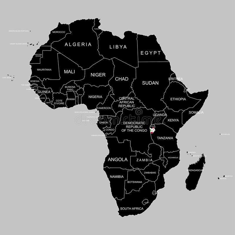 Territory of Burundi on Africa continent. Vector illustration. Territory of Burundi on Africa continent. Vector royalty free illustration
