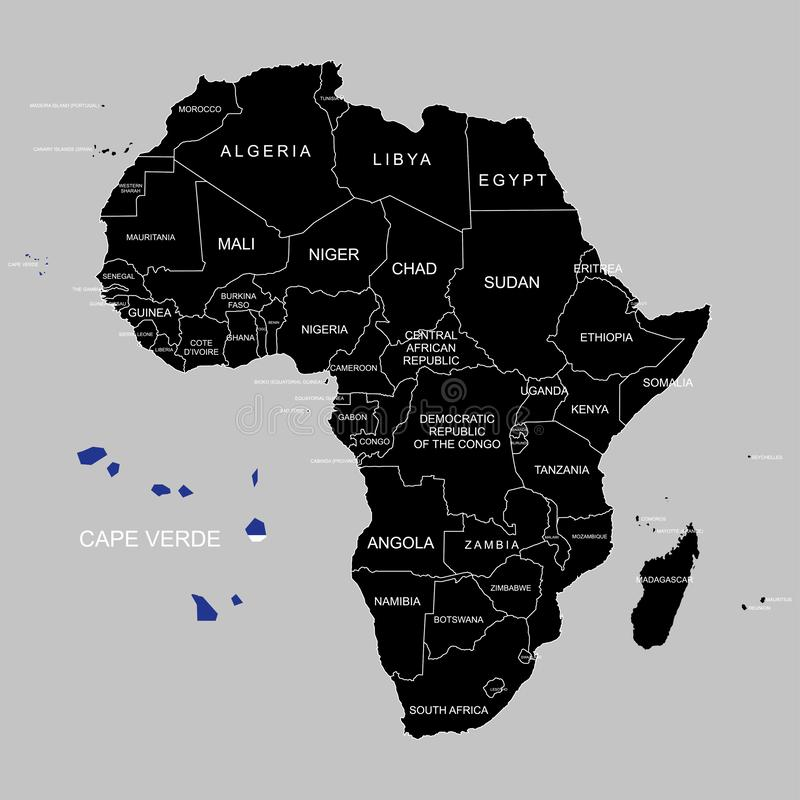 Territory of Cape Verde on Africa continent. Vector illustration. Territory of Cape Verde on Africa continent. Vector royalty free illustration
