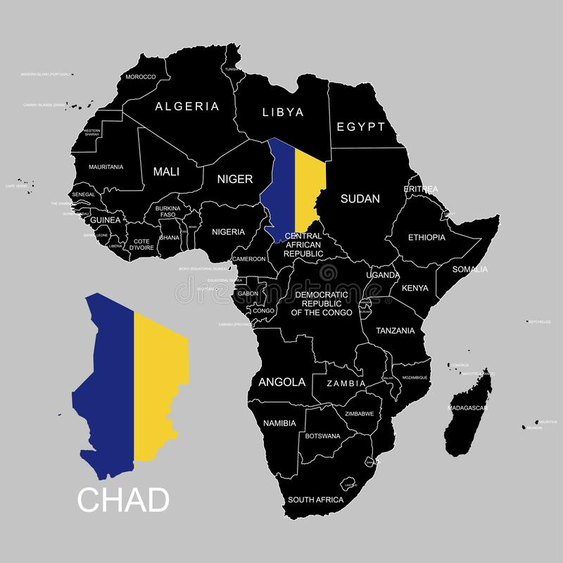 Territory of Chad on Africa continent. Vector illustration. Territory of Chad on Africa continent. Vector royalty free illustration