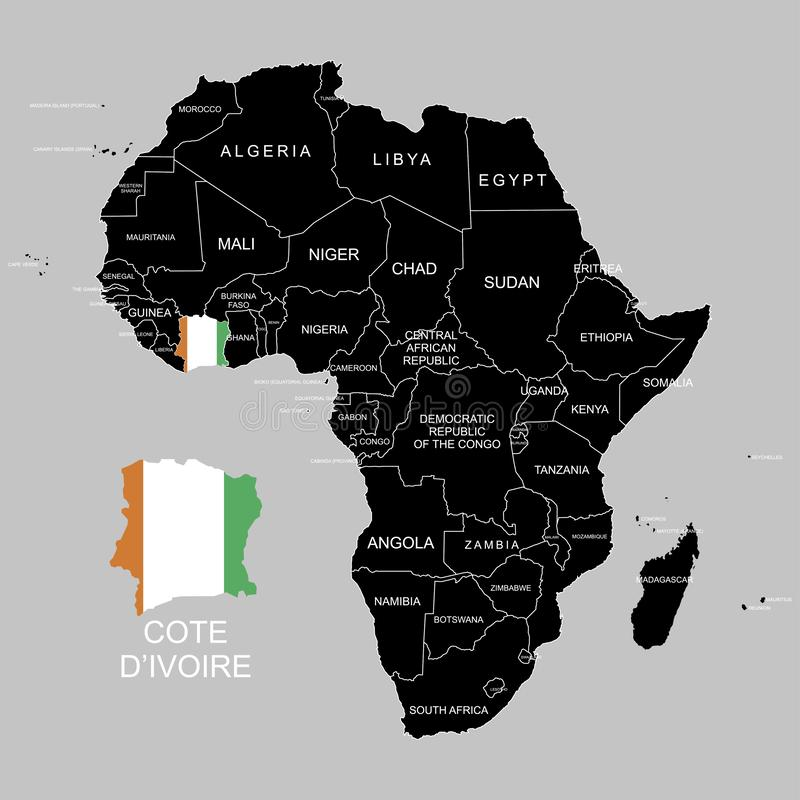 Territory of Cote dIvoire on Africa continent. Vector illustration. Territory of Cote dIvoire on Africa continent. Vector vector illustration