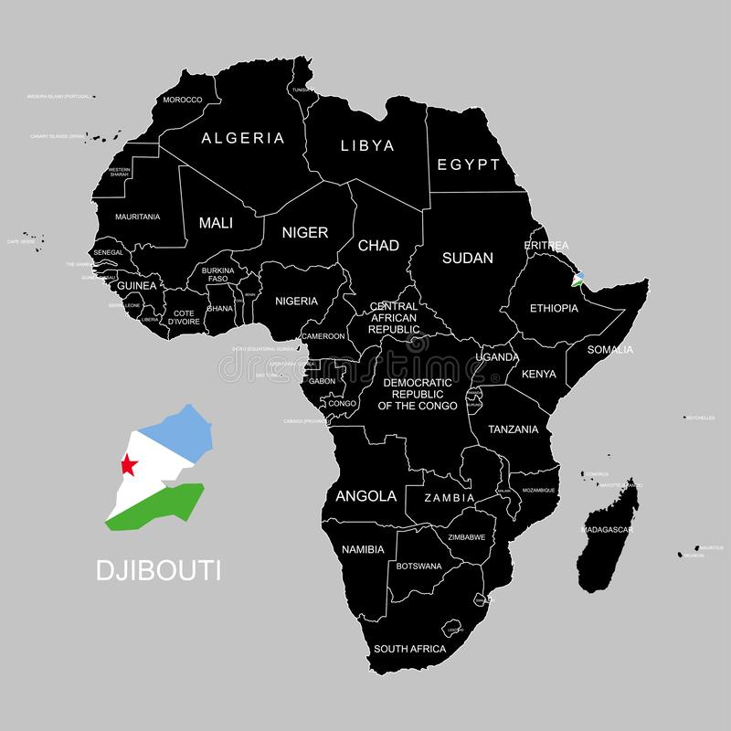 Territory of Djibouti on Africa continent. Vector illustration. Territory of Djibouti on Africa continent. Vector vector illustration