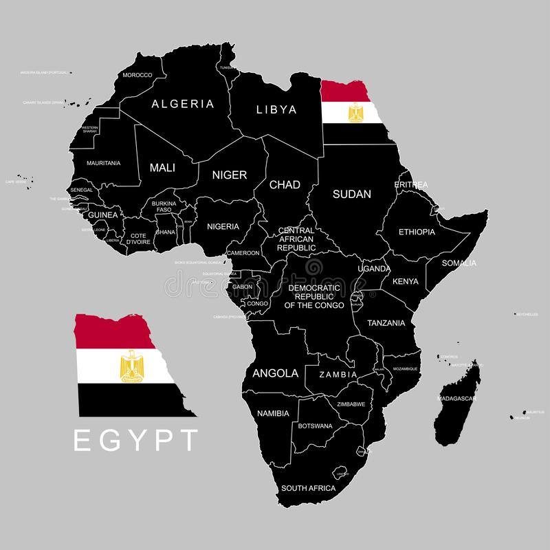 Territory of Egypt on Africa continent. Vector illustration. Territory of Egypt on Africa continent. Vector vector illustration