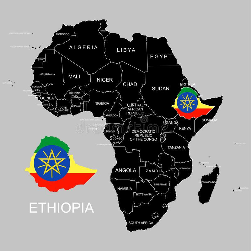 Territory of Ethiopia on Africa continent. Vector illustration. Territory of Ethiopia on Africa continent. Vector vector illustration