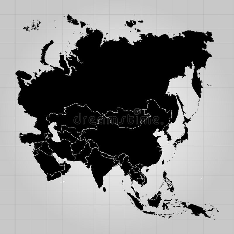 Territory of Europe, Asia, Eurasia with separate countries. Gray background. Vector illustration royalty free illustration