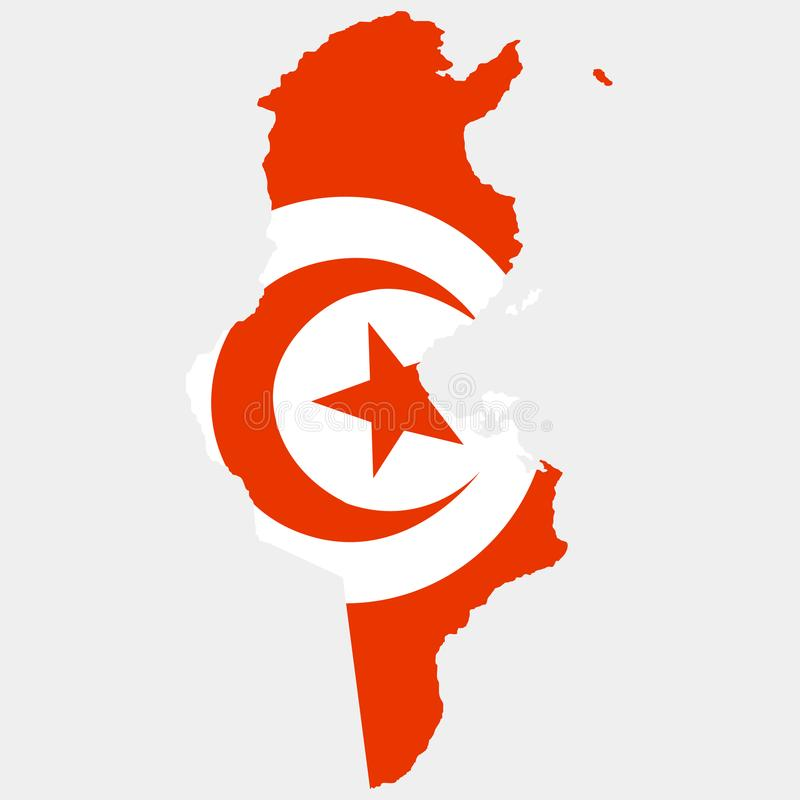 Territory and flag of Tunisia. White background. Vector illustration. Territory and flag of Tunisia. Vector vector illustration