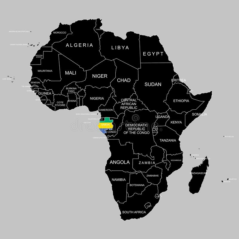 Territory of Gabon on Africa continent. Vector illustration. Territory of Gabon on Africa continent. Vector stock illustration