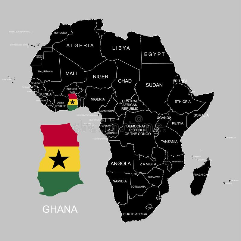 Territory of Ghana on Africa continent. Vector illustration. Territory of Ghana on Africa continent. Vector royalty free illustration