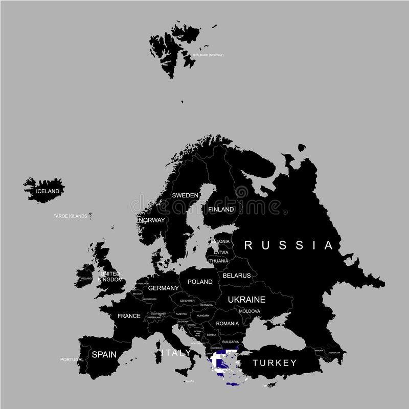 Territory of Greece on Europe map on a grey background royalty free illustration