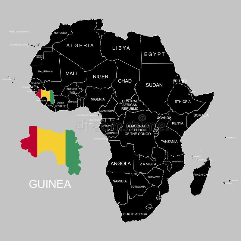 Territory of Guinea on Africa continent. Vector illustration. Territory of Guinea on Africa continent. Vector vector illustration