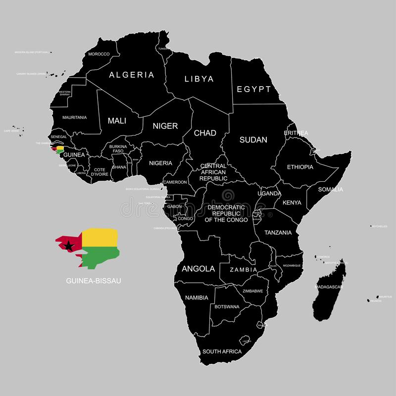 Territory of Guinea-Bissau on Africa continent. Vector illustration. Territory of Guinea-Bissau on Africa continent. Vector stock illustration