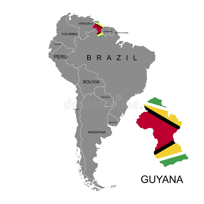 Territory of Guyana on South America continent. White background. Vector illustration. Territory of Guyana on South America continent. White background. Vector vector illustration