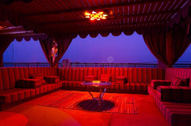 Territory of Hilton Sharm Waterfalls Resort 5 * hotel in Hadaba district, evening view, Sharm El Sheikh, Egypt stock image