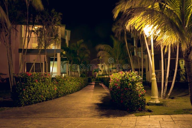 Territory of hotel `Iberostar Tainos` at night stock images