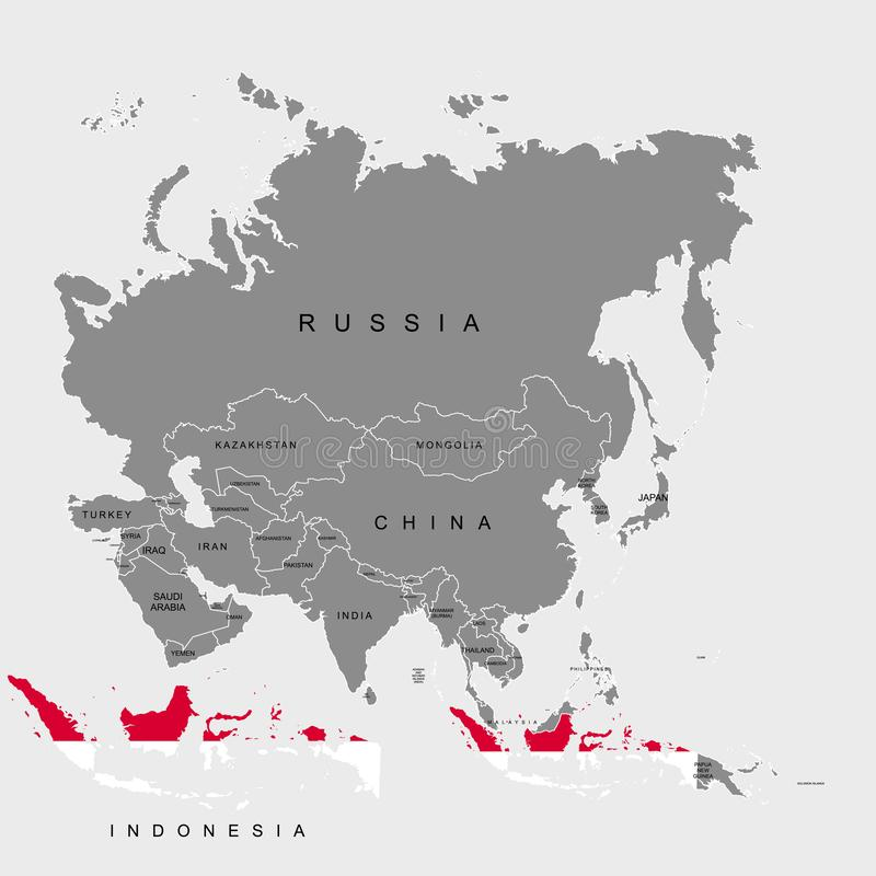 Territory of Indonesia on Asia continent. Flag of Indonesia. Vector illustration. Territory of Indonesia on Asia continent. Flag of Indonesia. Vector vector illustration
