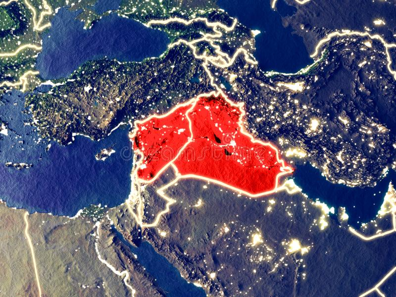 Territory of Islamic State on Earth at night. Islamic State from space on Earth at night. Very fine detail of the plastic planet surface with bright city lights royalty free stock images