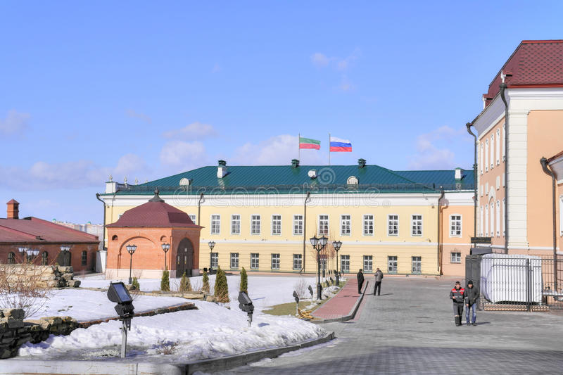 The territory of the Kazan Kremlin stock photo