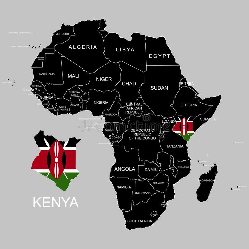 Territory of Kenya on Africa continent. Vector illustration. Territory of Kenya on Africa continent. Vector stock illustration