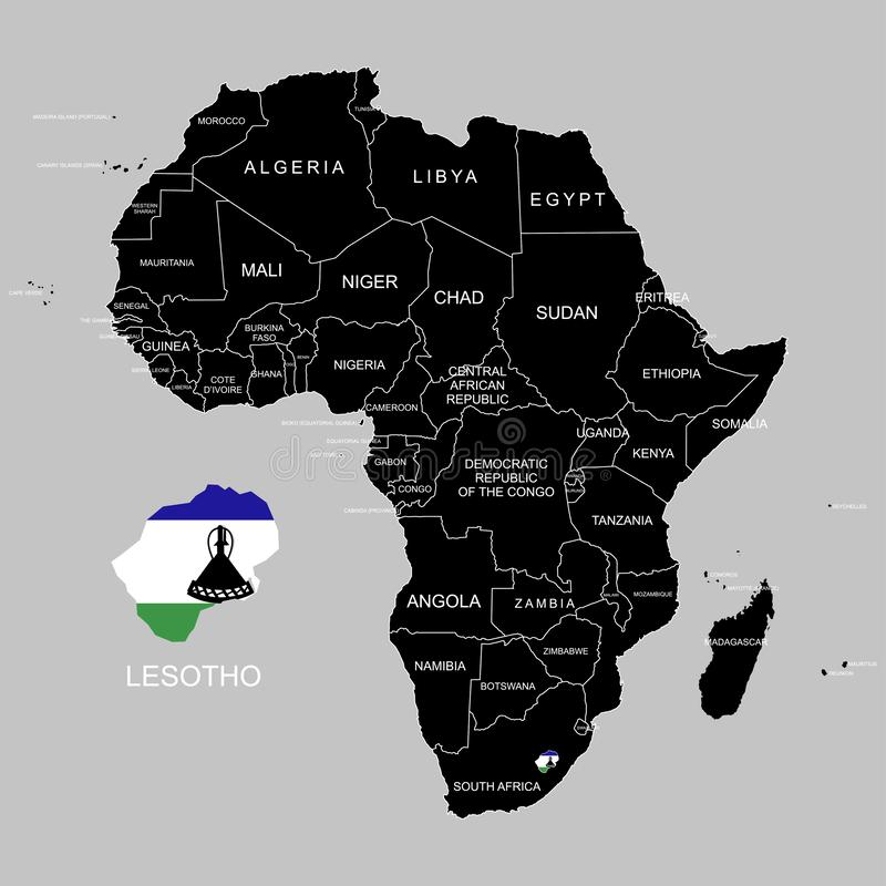 Territory of Lesotho on Africa continent. Vector illustration. Territory of Lesotho on Africa continent. Vector vector illustration
