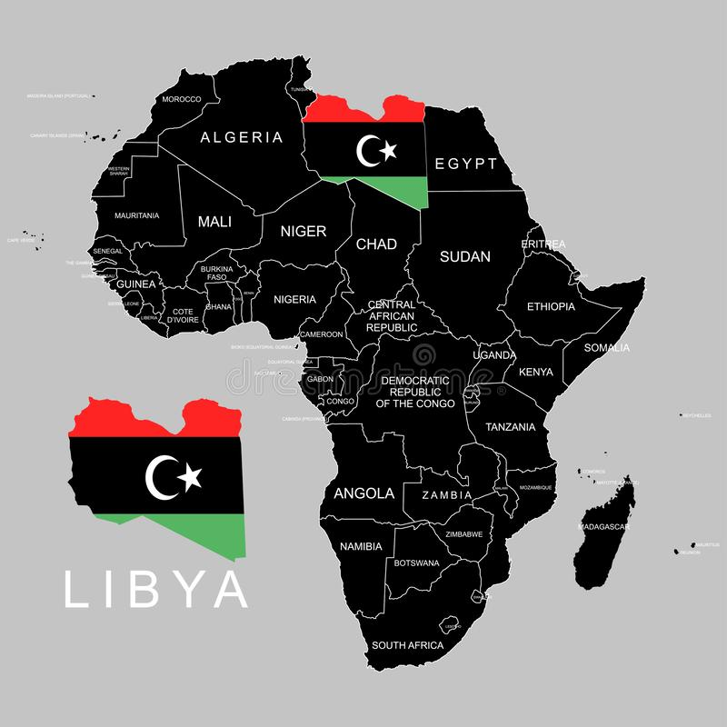 Territory of Libya on Africa continent. Vector illustration. Territory of Libya on Africa continent. Vector stock illustration