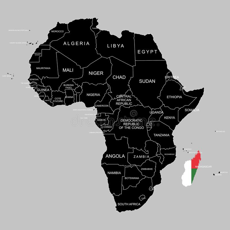 Territory of Madagascar on Africa continent. Vector illustration. Territory of Madagascar on Africa continent. Vector royalty free illustration