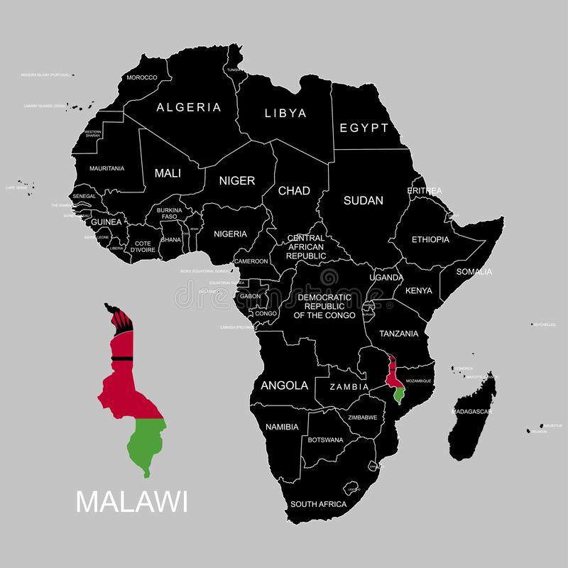 Territory of Malawi on Africa continent. Vector illustration. Territory of Malawi on Africa continent. Vector royalty free illustration