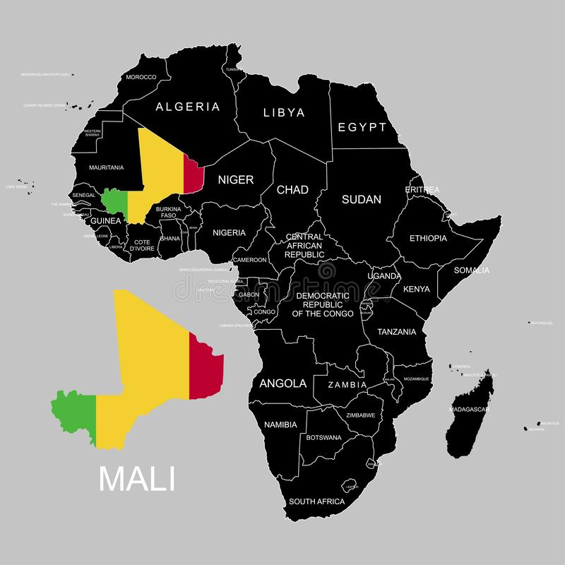 Territory of Mali on Africa continent. Vector illustration. Territory of Mali on Africa continent. Vector royalty free illustration