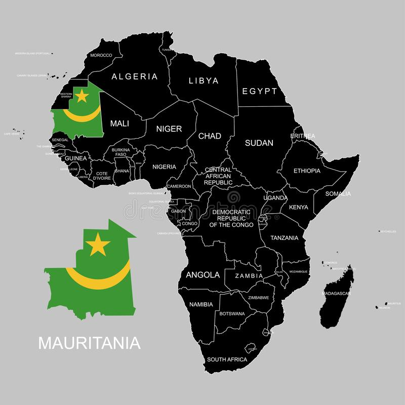 Territory of Mauritania on Africa continent. Vector illustration. Territory of Mauritania on Africa continent. Vector stock illustration