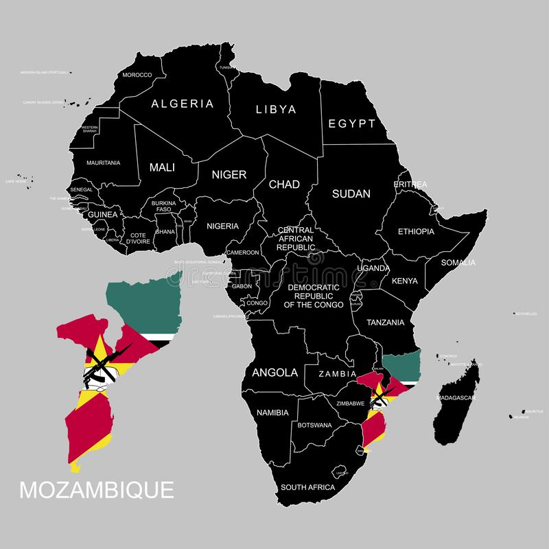 Territory of Mozambique on Africa continent. Vector illustration. Territory of Mozambique on Africa continent. Vector vector illustration