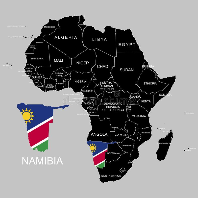 Territory of Namibia on Africa continent. Vector illustration. Territory of Namibia on Africa continent. Vector royalty free illustration