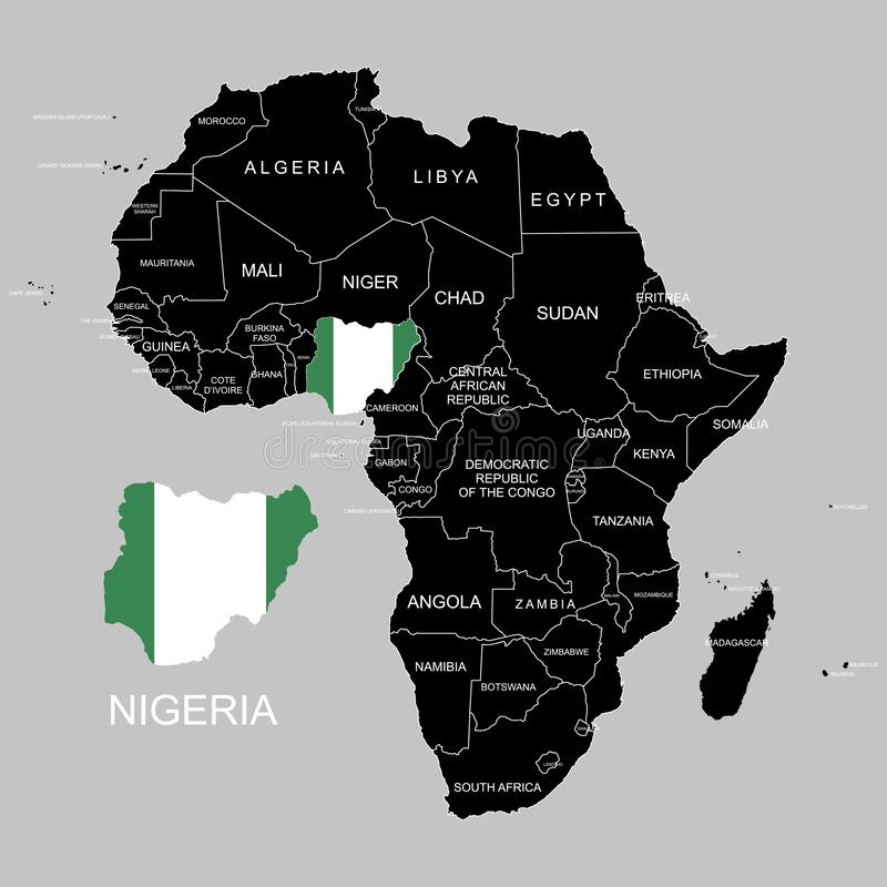 Territory of Nigeria on Africa continent. Vector illustration. Territory of Nigeria on Africa continent. Vector stock illustration